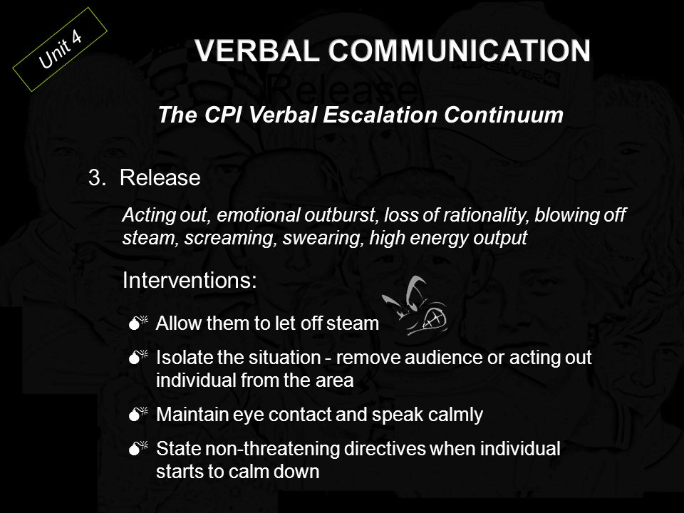 Release VERBAL COMMUNICATION The CPI Verbal Escalation Continuum