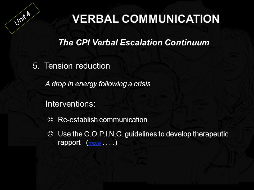 VERBAL COMMUNICATION The CPI Verbal Escalation Continuum