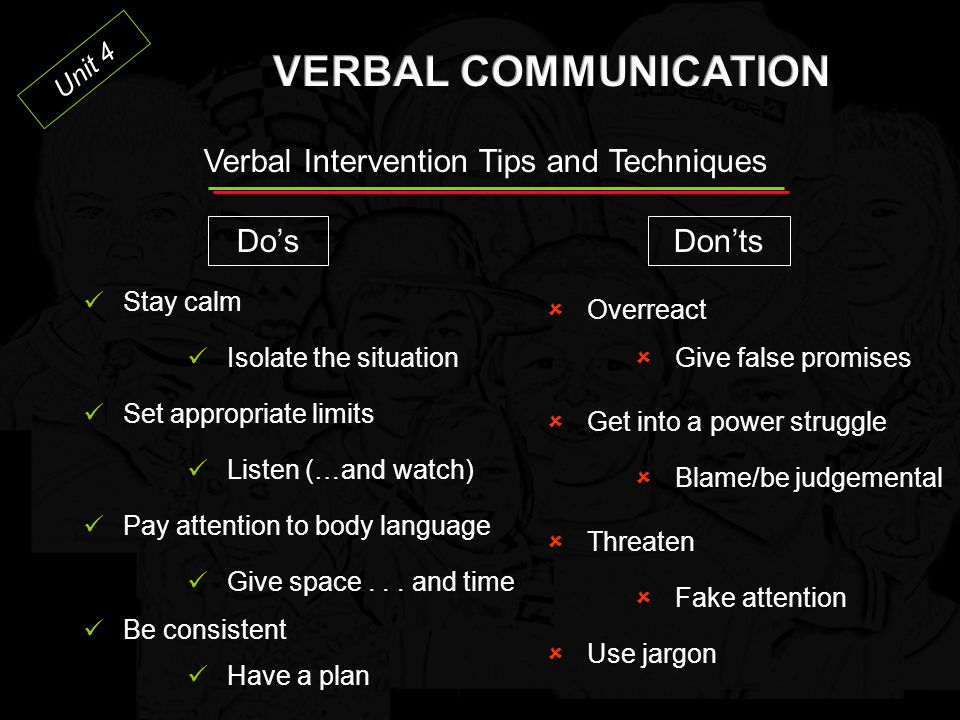 VERBAL COMMUNICATION Verbal Intervention Tips and Techniques Do's