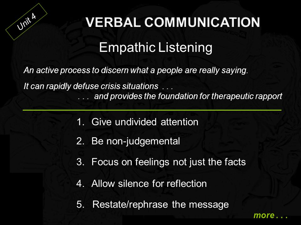 VERBAL COMMUNICATION Empathic Listening 1. Give undivided attention