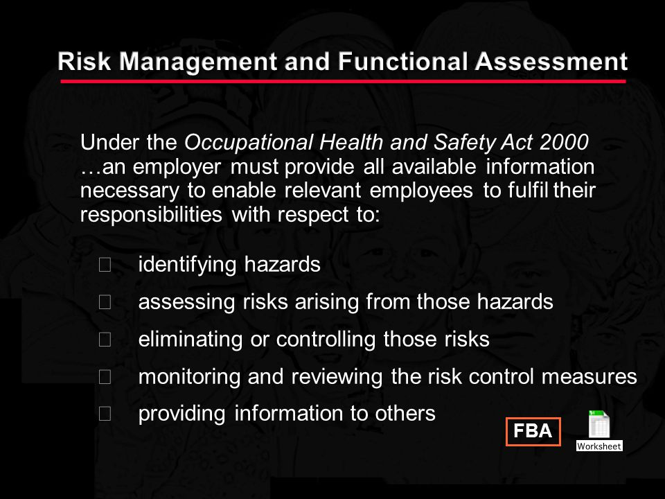 Risk Management and Functional Assessment