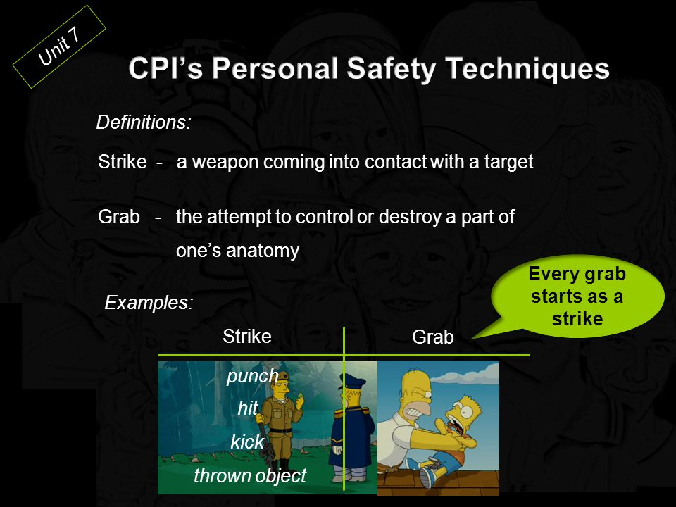 CPI's Personal Safety Techniques Every grab starts as a strike