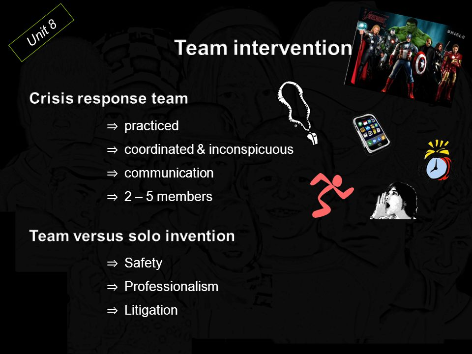 Team intervention Crisis response team Team versus solo invention