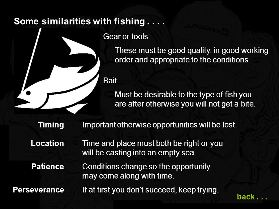 Some similarities with fishing . . . .