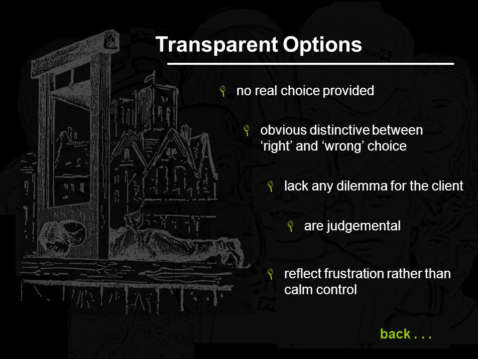 Transparent Options no real choice provided