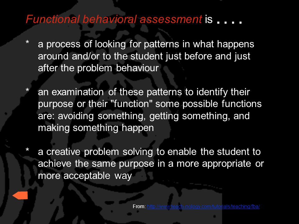 . . . . Functional behavioral assessment is