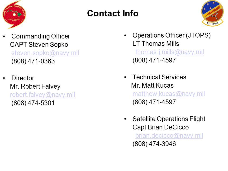 Contact Info Commanding Officer. CAPT Steven Sopko. steven.sopko@navy.mil. (808) 471-0363. Director.