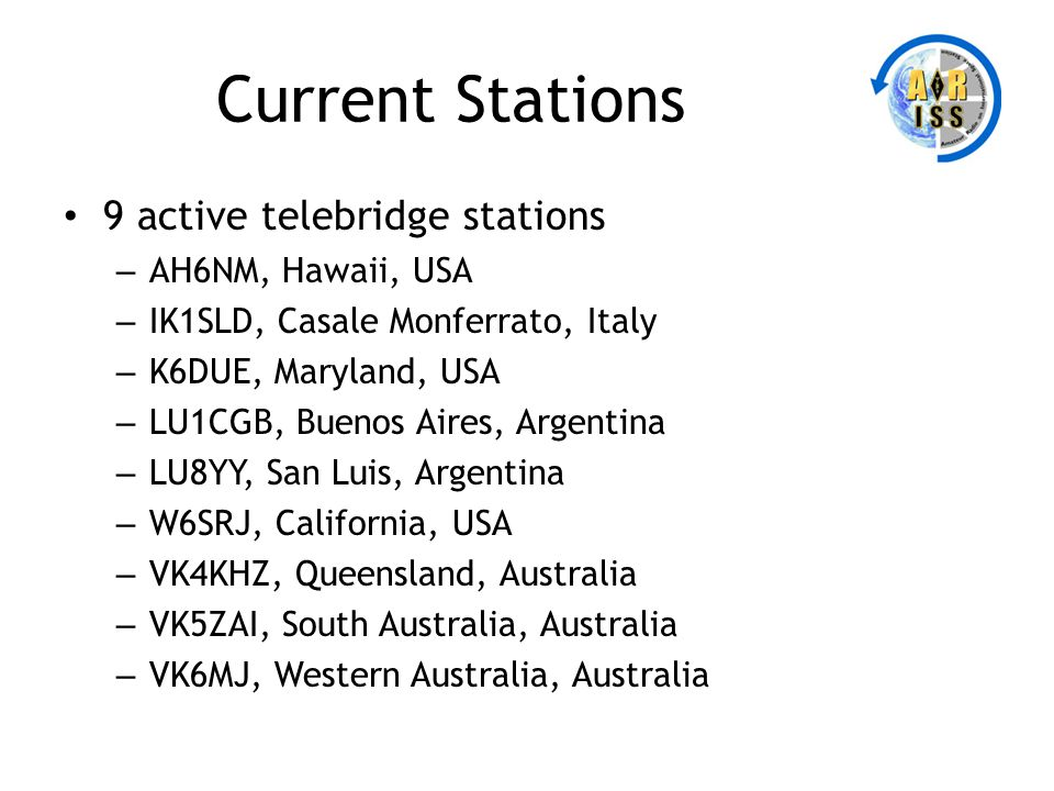 Current Stations 9 active telebridge stations AH6NM, Hawaii, USA