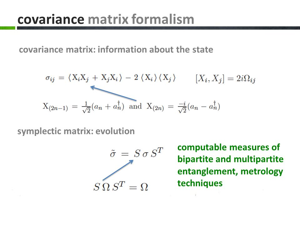 covariance matrix formalism