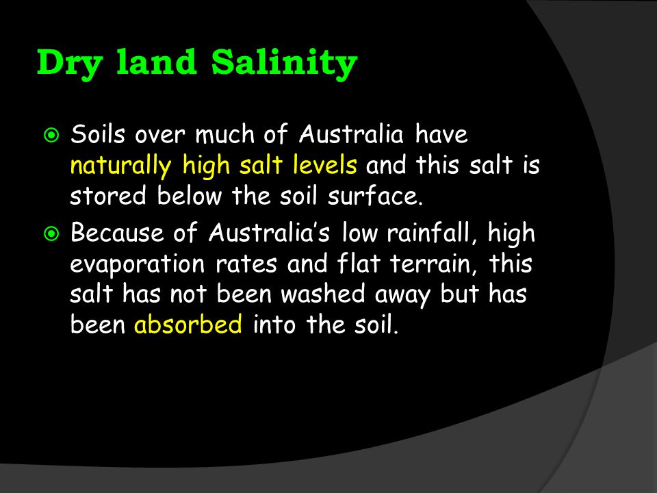 Dry land Salinity Soils over much of Australia have naturally high salt levels and this salt is stored below the soil surface.