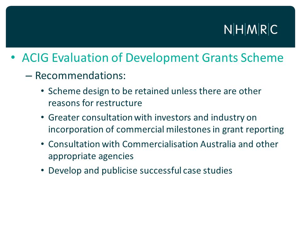 ACIG Evaluation of Development Grants Scheme