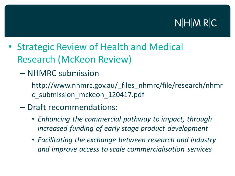 Strategic Review of Health and Medical Research (McKeon Review)