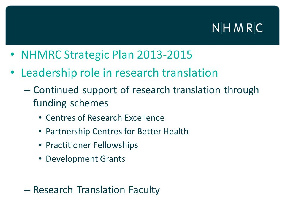 Leadership role in research translation