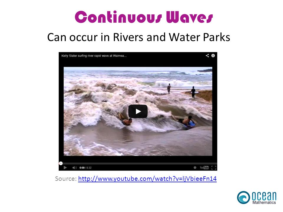 Continuous Waves Can occur in Rivers and Water Parks