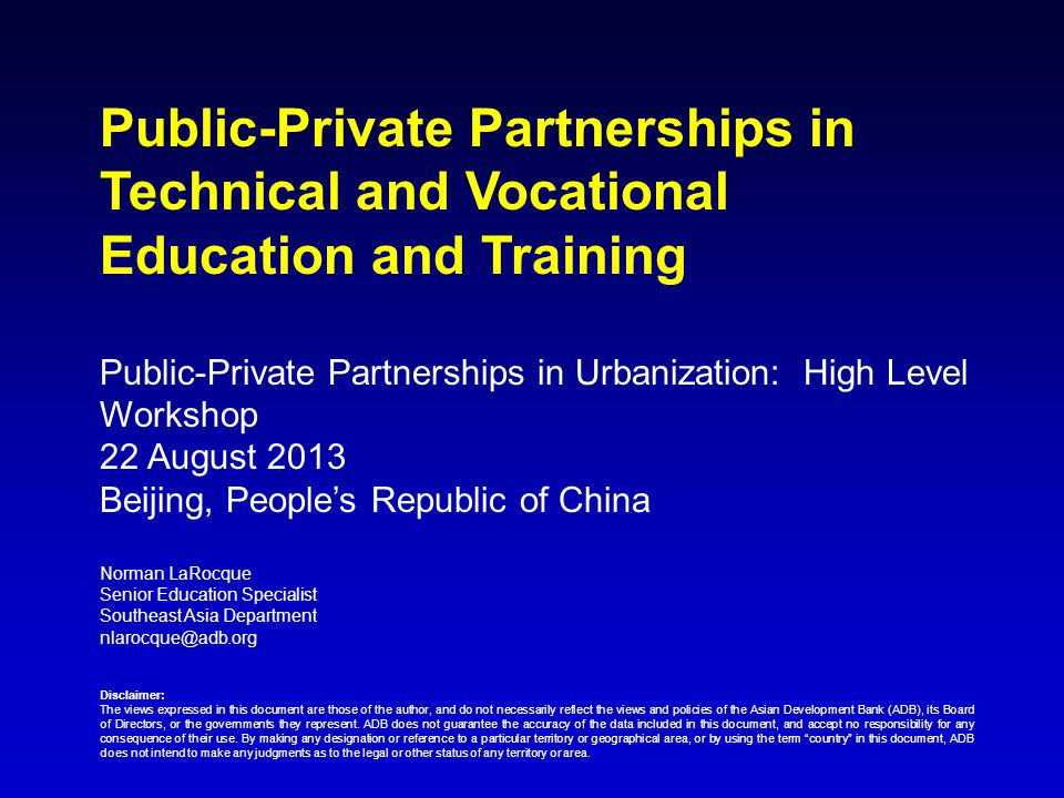 Public-Private Partnerships in Technical and Vocational Education and Training