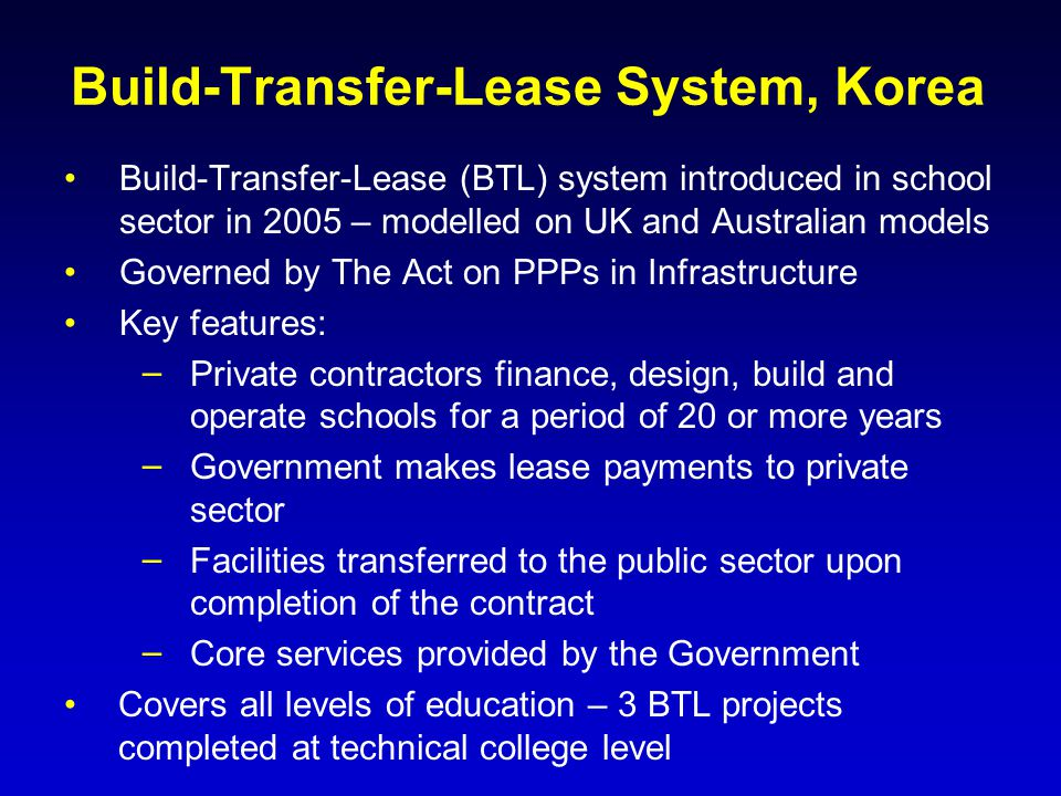 Build-Transfer-Lease System, Korea