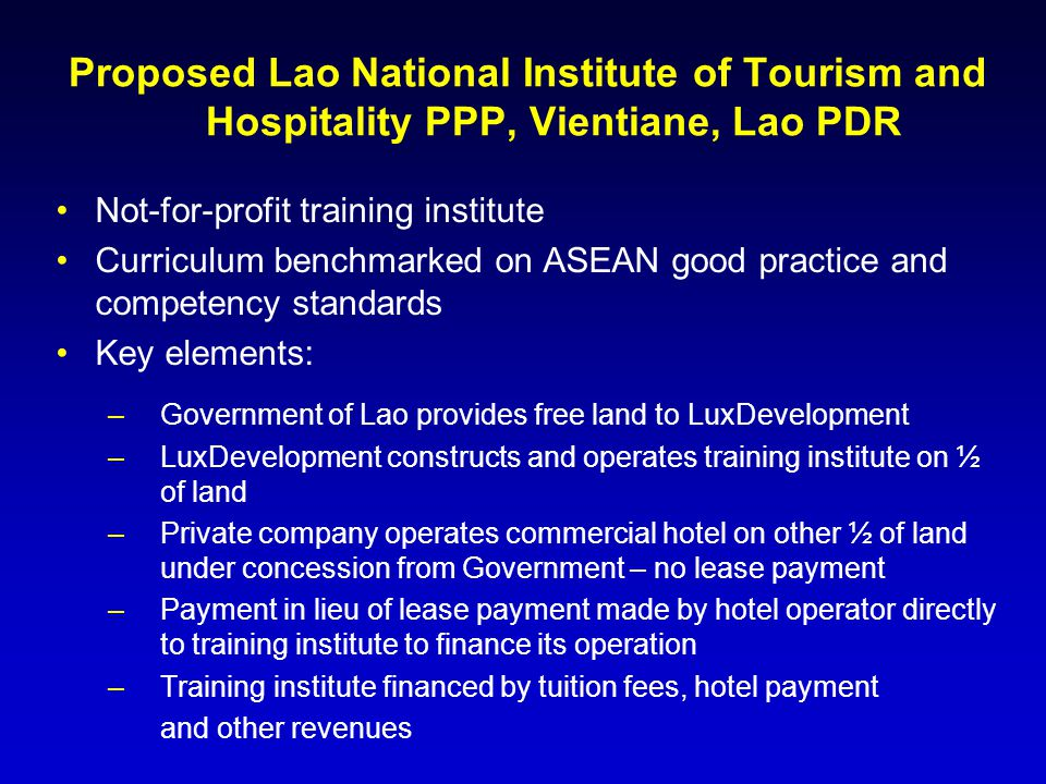 Proposed Lao National Institute of Tourism and Hospitality PPP, Vientiane, Lao PDR
