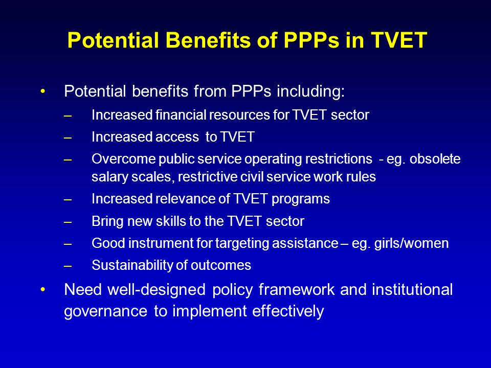 Potential Benefits of PPPs in TVET