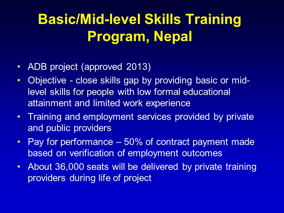 Basic/Mid-level Skills Training Program, Nepal