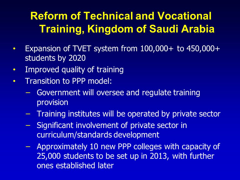 Reform of Technical and Vocational Training, Kingdom of Saudi Arabia