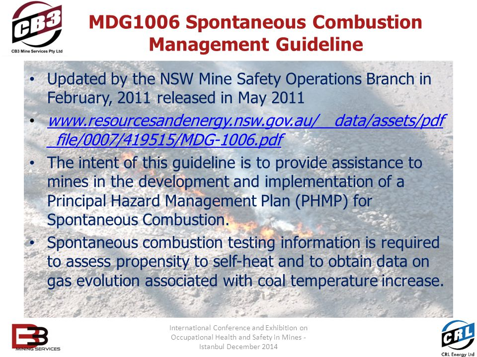 MDG1006 Spontaneous Combustion Management Guideline