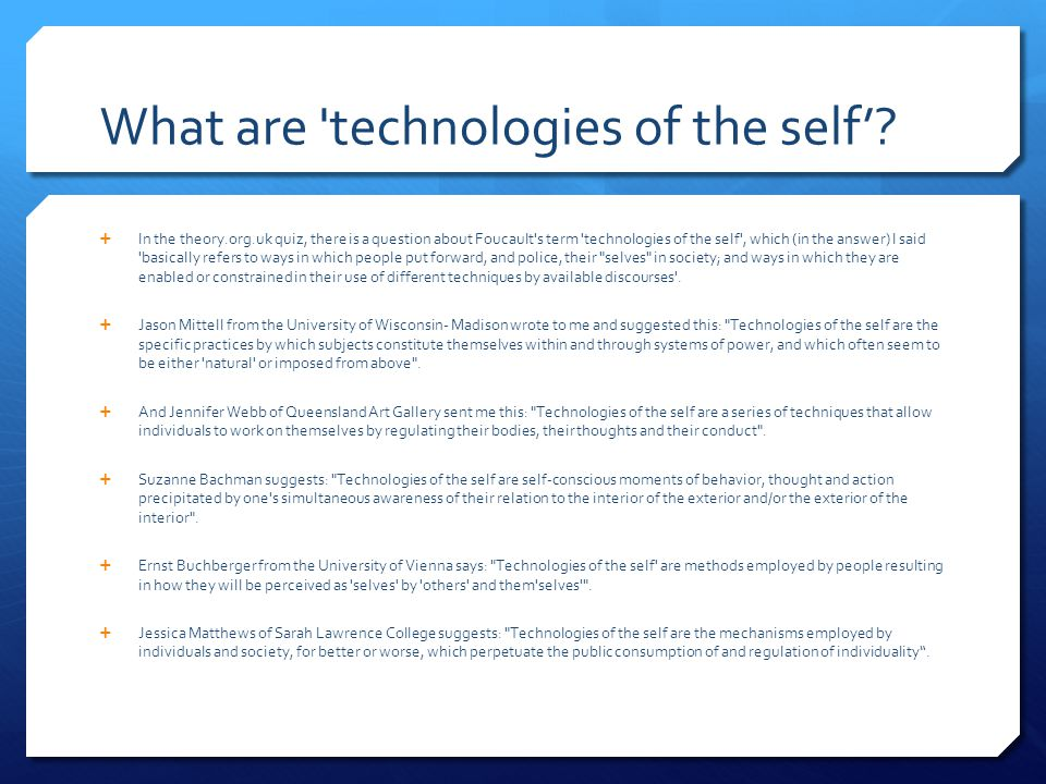 What are technologies of the self'