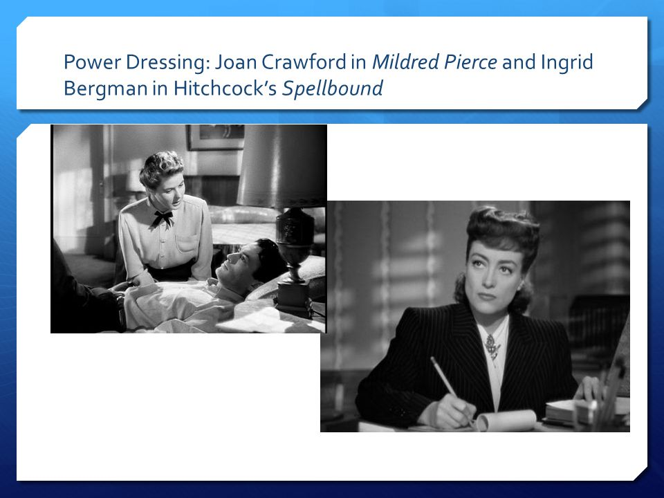 Power Dressing: Joan Crawford in Mildred Pierce and Ingrid Bergman in Hitchcock's Spellbound