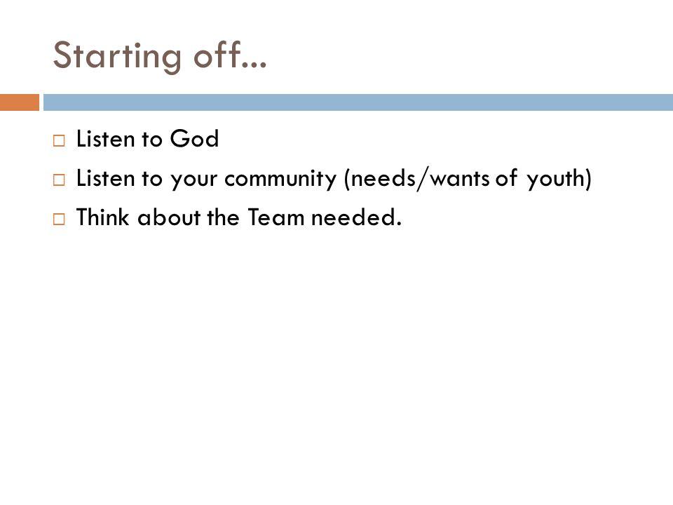 Starting off... Listen to God