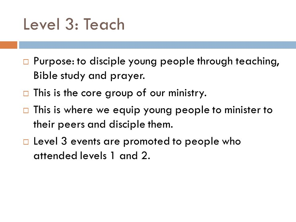 Level 3: Teach Purpose: to disciple young people through teaching, Bible study and prayer. This is the core group of our ministry.