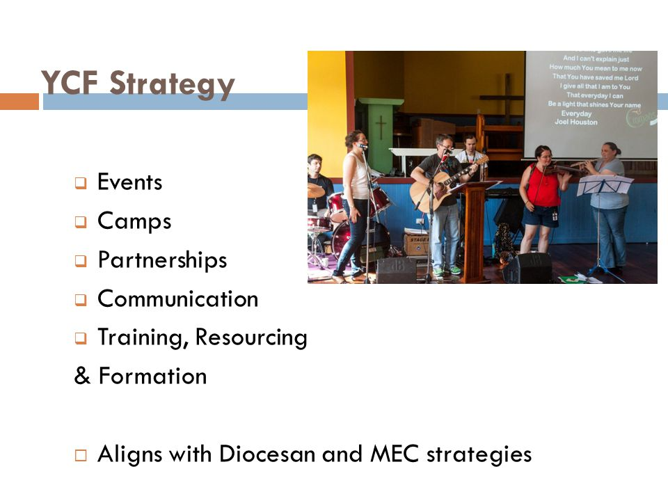 YCF Strategy Events Camps Partnerships Communication