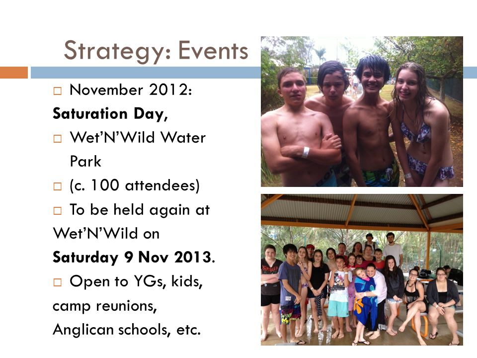 Strategy: Events November 2012: Saturation Day, Wet'N'Wild Water Park