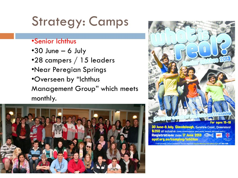 Strategy: Camps Senior Ichthus 30 June – 6 July