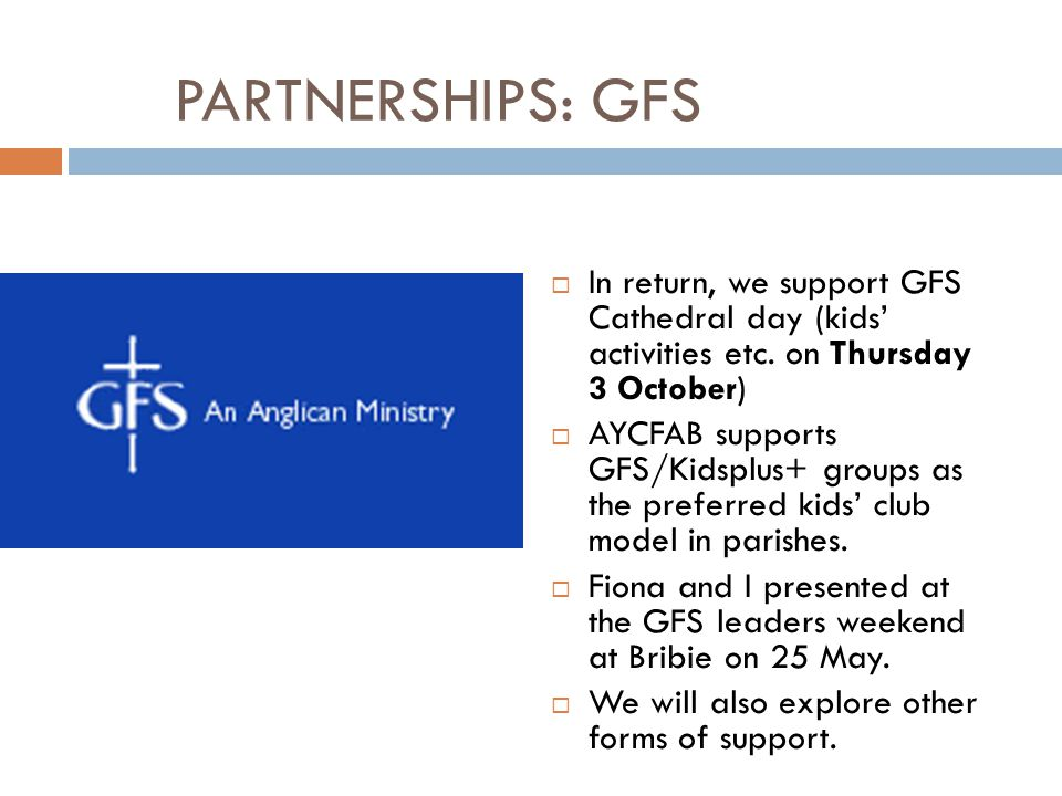 PARTNERSHIPS: GFS In return, we support GFS Cathedral day (kids' activities etc. on Thursday 3 October)