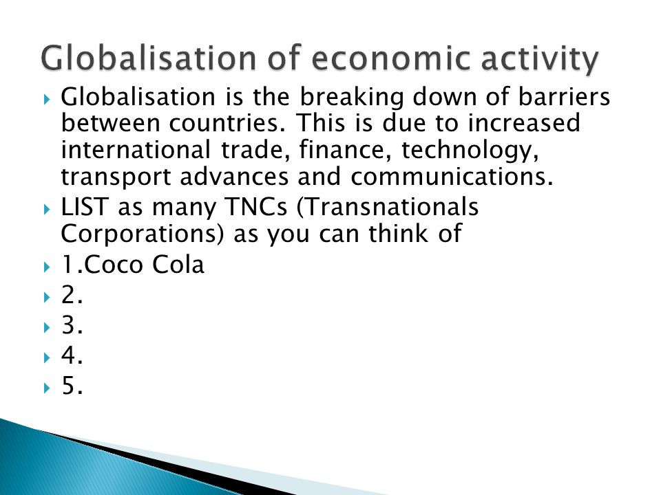 Globalisation of economic activity