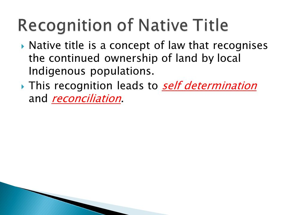 Recognition of Native Title