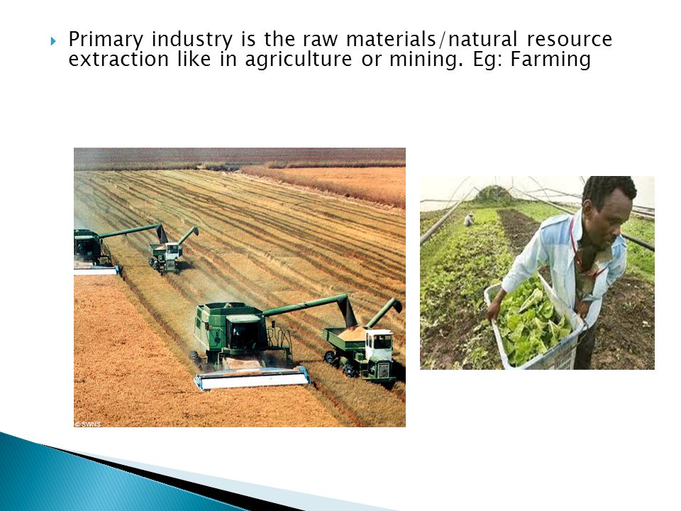 Primary industry is the raw materials/natural resource extraction like in agriculture or mining.