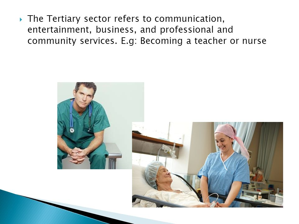 The Tertiary sector refers to communication, entertainment, business, and professional and community services.
