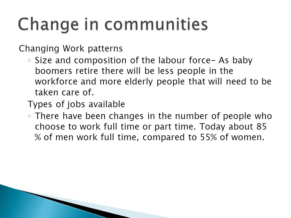 Change in communities Changing Work patterns