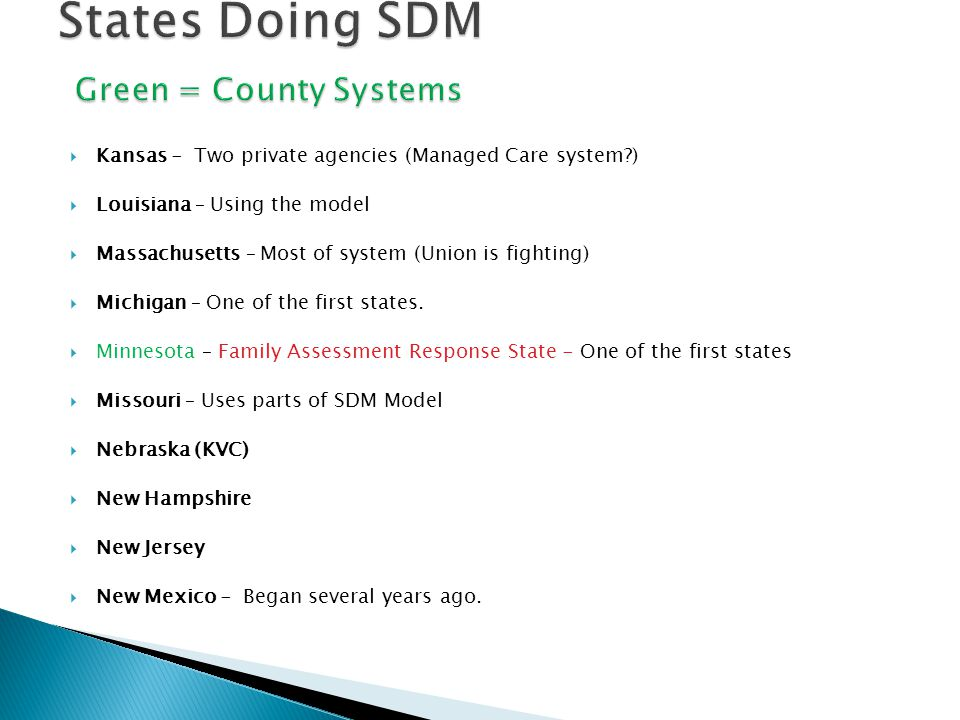 States Doing SDM Green = County Systems
