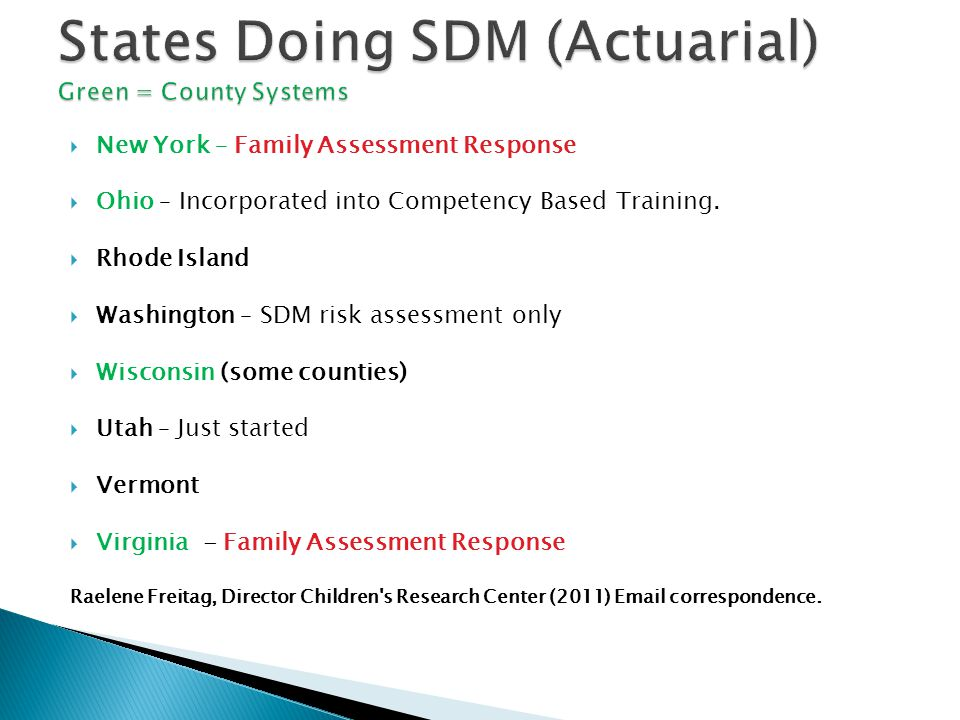 States Doing SDM (Actuarial) Green = County Systems