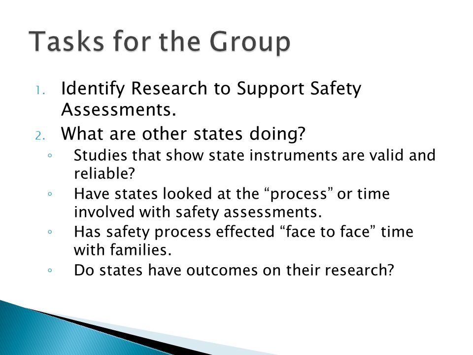 Tasks for the Group Identify Research to Support Safety Assessments.