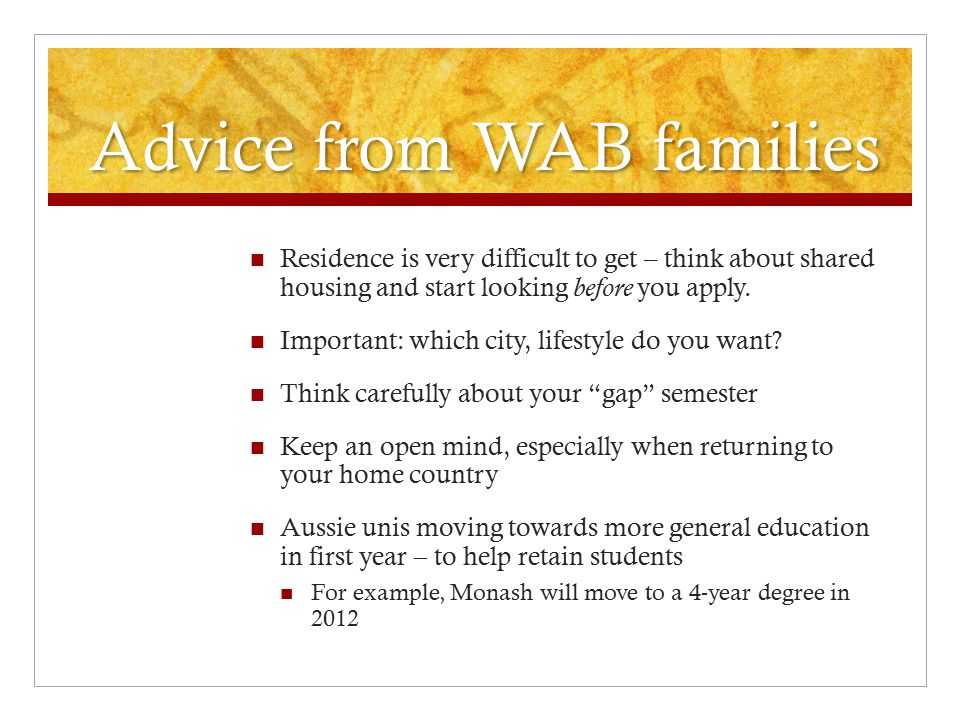 Advice from WAB families