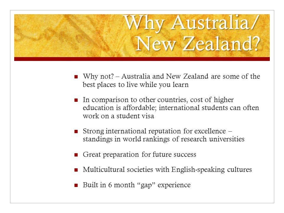 Why Australia/ New Zealand