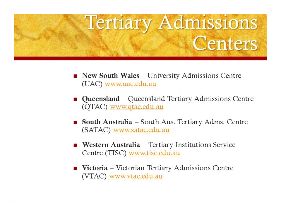 Tertiary Admissions Centers
