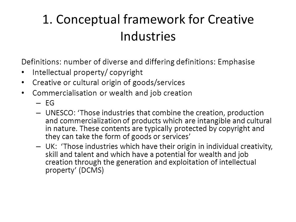 1. Conceptual framework for Creative Industries