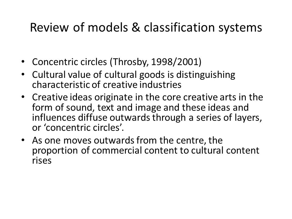 Review of models & classification systems