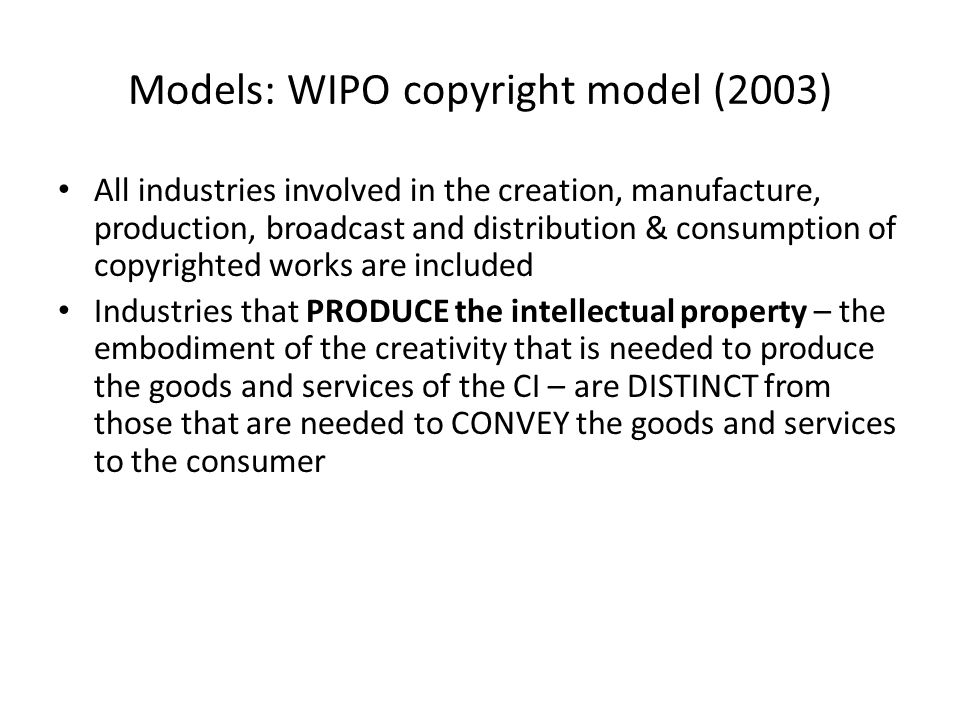 Models: WIPO copyright model (2003)