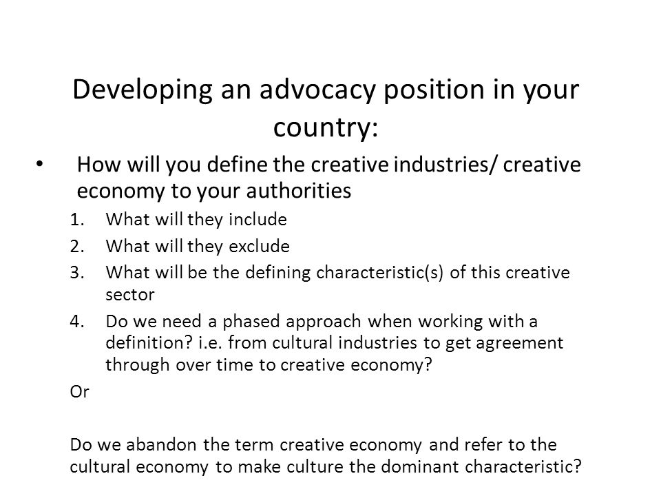 Developing an advocacy position in your country: