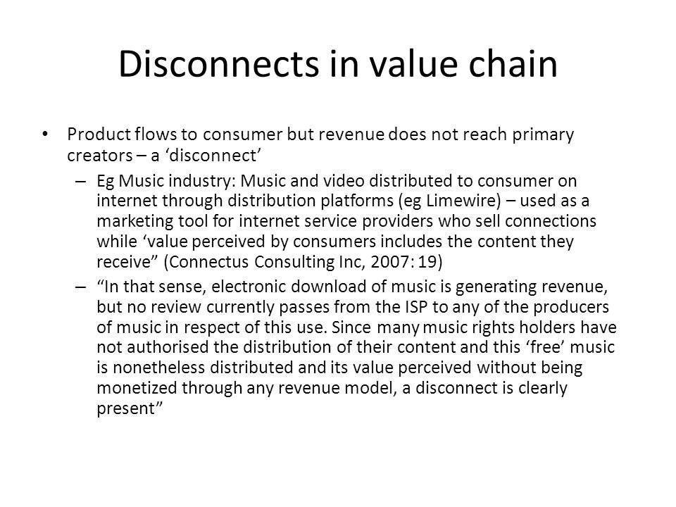 Disconnects in value chain