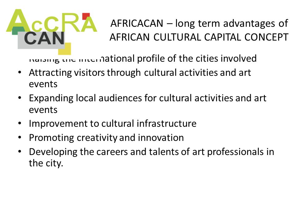 AFRICACAN – long term advantages of AFRICAN CULTURAL CAPITAL CONCEPT